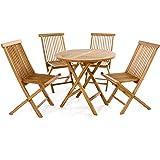Divero 5 tlg. Gartenmöbel Balkonset Klappstuhl Tisch rund Ø 80cm Teakholz Sitzgarnitur behandelt