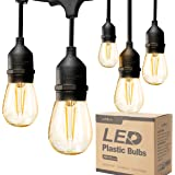 addlon LED Outdoor String Lights 48FT with 2W Dimmable Edison Vintage Plastic Bulbs and Commercial Grade Weatherproof…