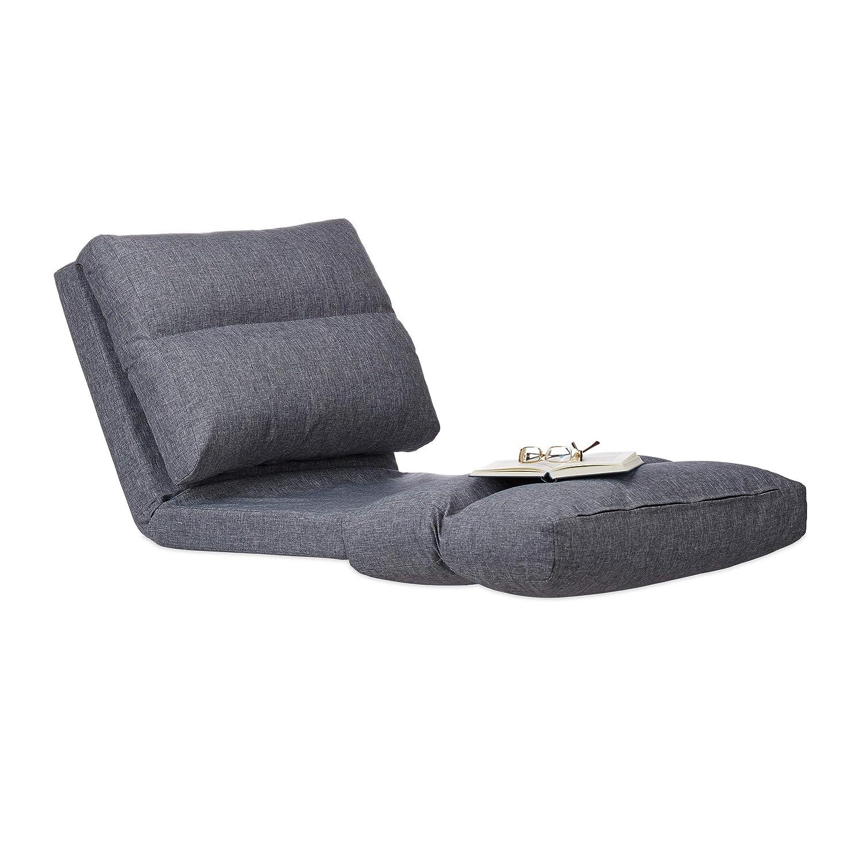 Relaxdays Relaxliege Sessel, Faltmatratze, verstellbare Lehne, Polster, für Drinnen, Bodensitzkissen, Bodensitzkissen, Bodensitzkissen, 194 cm lang, grau e13ff5
