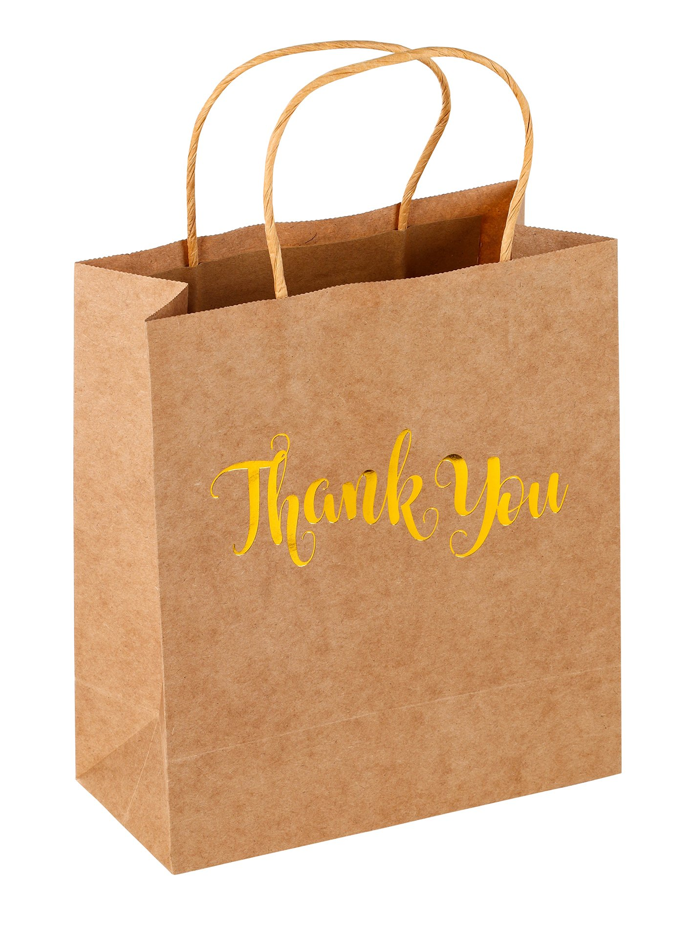 Thank You Gift Bag - 15-Pack Gold Foil Brown Kraft Paper Bag Party Favors Includes Tissue Paper for Birthday, Baby Shower, Wedding Party Guests, 8 x 4 x 9 inches