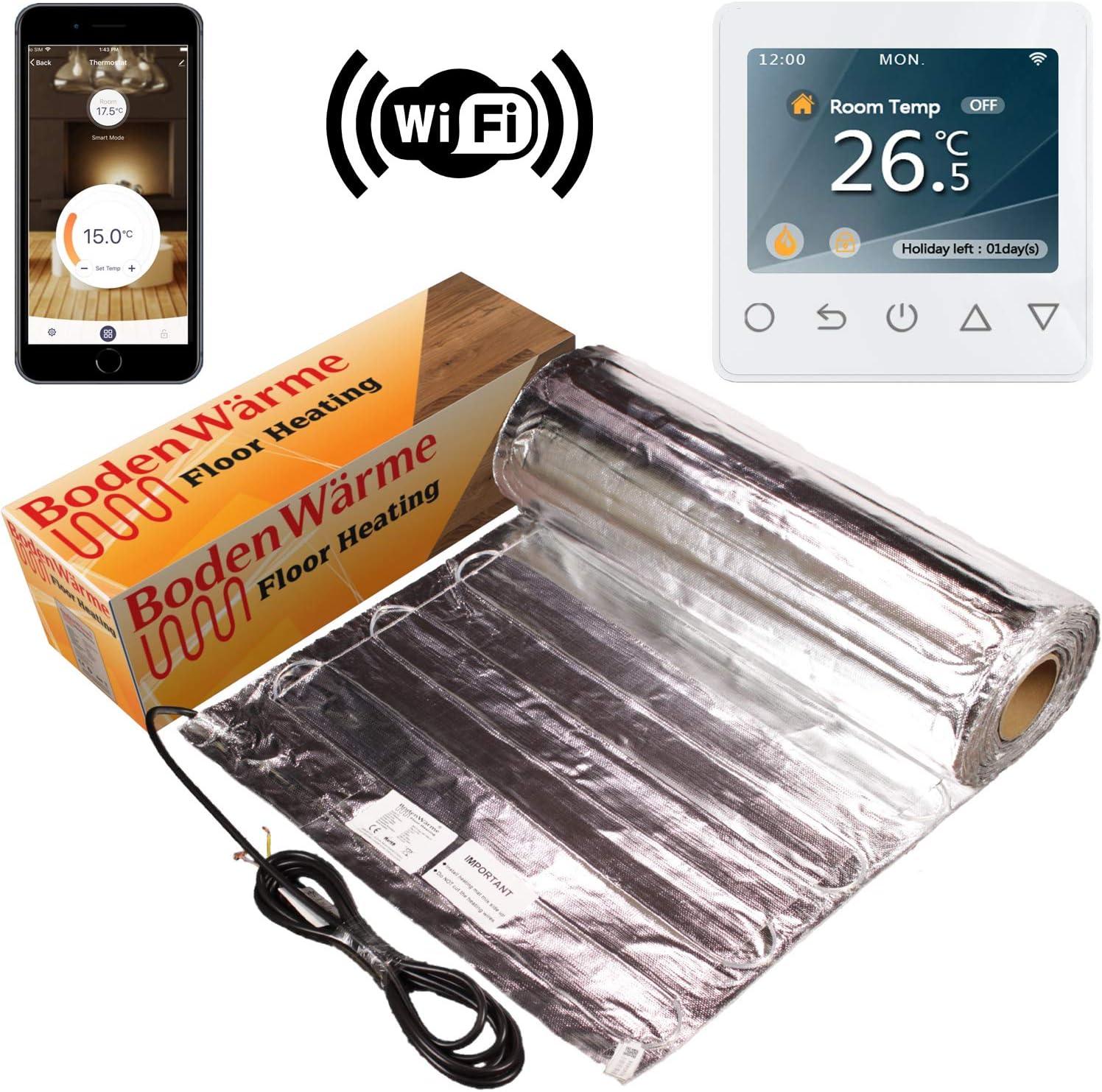 Electric Under Laminate//Wood Foil Underfloor Heating Mat Kit 14m sq, Manual Thermostat