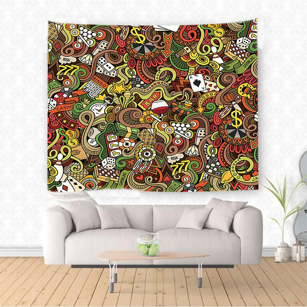 Nalahome Casino Decorations Doodles Style Art Bingo Excitement Checkers King Tambourine Vegas Ethnic Decorative Tapestry Blanket Wall Art Design Handicrafts 90.5W x 59L Inches