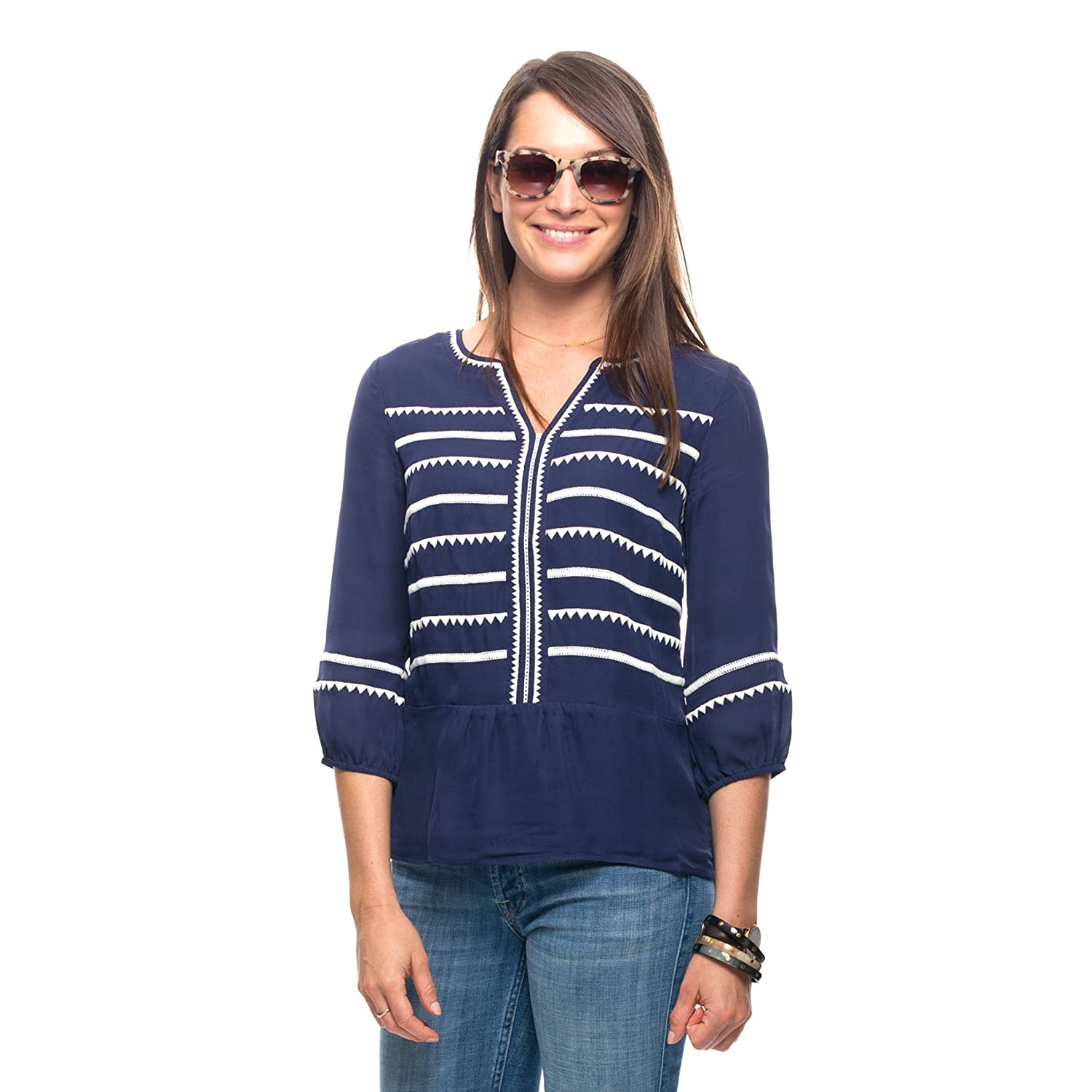 Vineyard Vines Women's Triangle Stripe Embroidered Top (Nautical Navy)