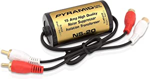 200W 15A RCA Noise Suppressor -Designed for Audio Signals & to Eliminate Noise, Isolation Transformer, Used w/ Amplifier or EQ, Install w/ RCA Jacks & Unique Noise Detection Circuit - Pyramid NS20