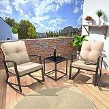 Gotland 3 Piece Outdoor Rocking Chairs Patio Bistro Set Modern Patio Furniture Porch Armchair Conversation Sets with Coffee T