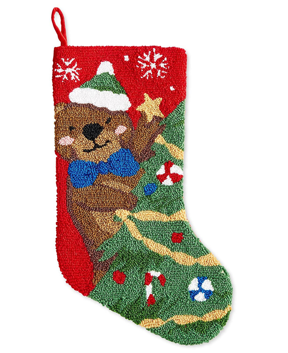 Holiday Lane 18-in Hooked Bear Christmas Stocking Red