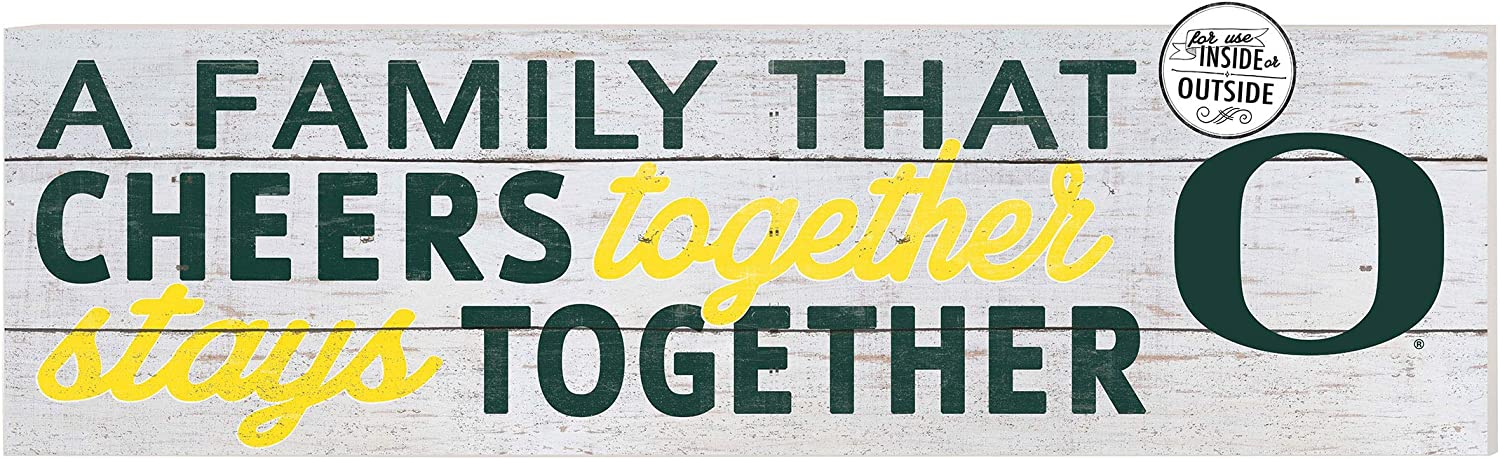 """KH Sports Fan Oregon Ducks 35""""x10"""" inOutdoor A Family That Cheers Sign, Team Color"""
