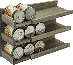 MyGift Rustic Reclaimed Style Gray on Brown Wood Home Kitchen Wall Mounted Can Organizer/Pantry Canned Food Storage Dispenser