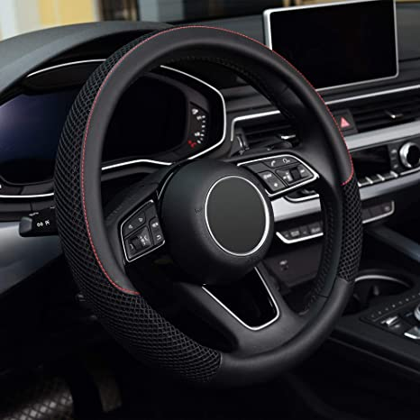 Black Panther Car Steering Wheel Cover with Wave Pattern 15 inch Universal Black Line Durable /& Anti-Slip Design