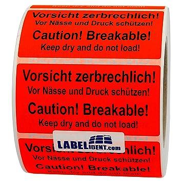 Aufkleber Vorsicht Zerbrechlich Caution Breakable 100