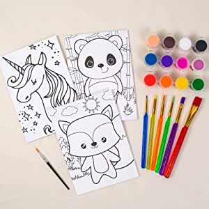 """Horizon Group USA Pre-Printed Canvas & Paint Art Set. Ready to Paint 5"""" x 7"""" Canvas Panels, 12 Tempera Paints, 6 Easy-Grip Assorted Paintbrushes Included. Panda, Fox & Glitter Unicorn"""