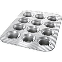 USA PAN 1210MF Bakeware Crown Muffin Pan, 12 Well, Nonstick & Quick Release Coating, Made in the USA from Aluminized…