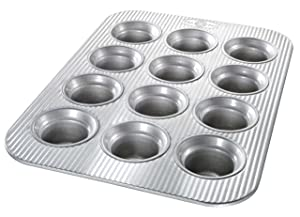 USA Pan Bakeware Crown Muffin Pan, 12 Well, Nonstick & Quick Release Coating, Made in the USA from Aluminized Steel