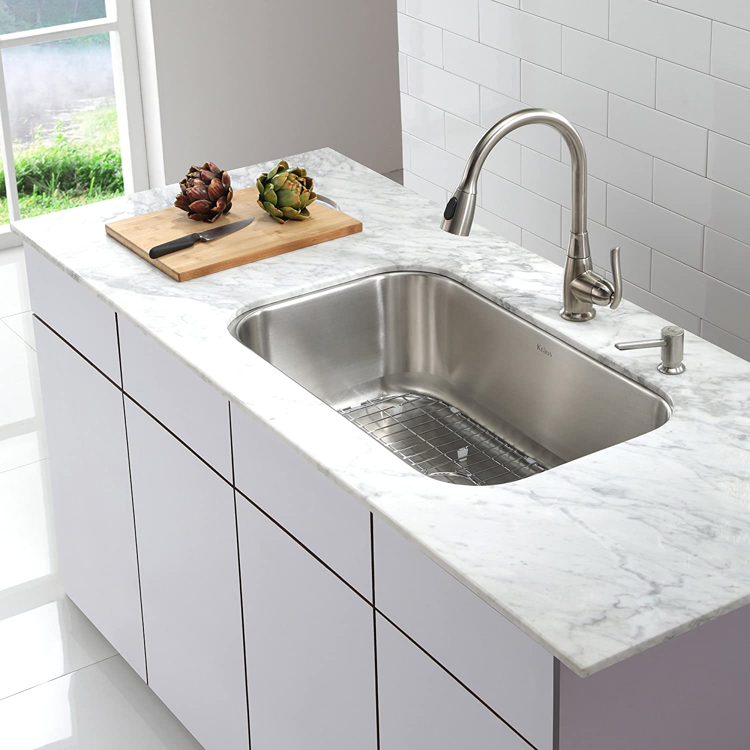 Kraus KPF-2230SN Single Lever Pull Out Kitchen Faucet Satin Nickel ...