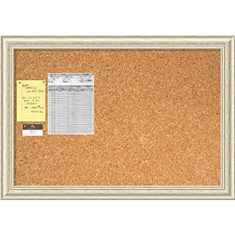 framed cork board large country white wash wood outer size 40 x 28 - White Framed Cork Board
