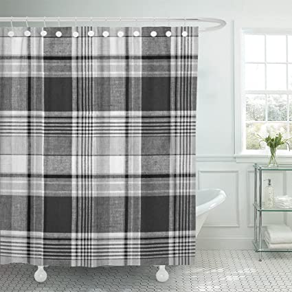 Image Unavailable Not Available For Color Emvency Shower Curtain Braid Tartan Plaid Black