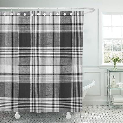 Amazon Emvency Shower Curtain Braid Tartan Plaid Black And