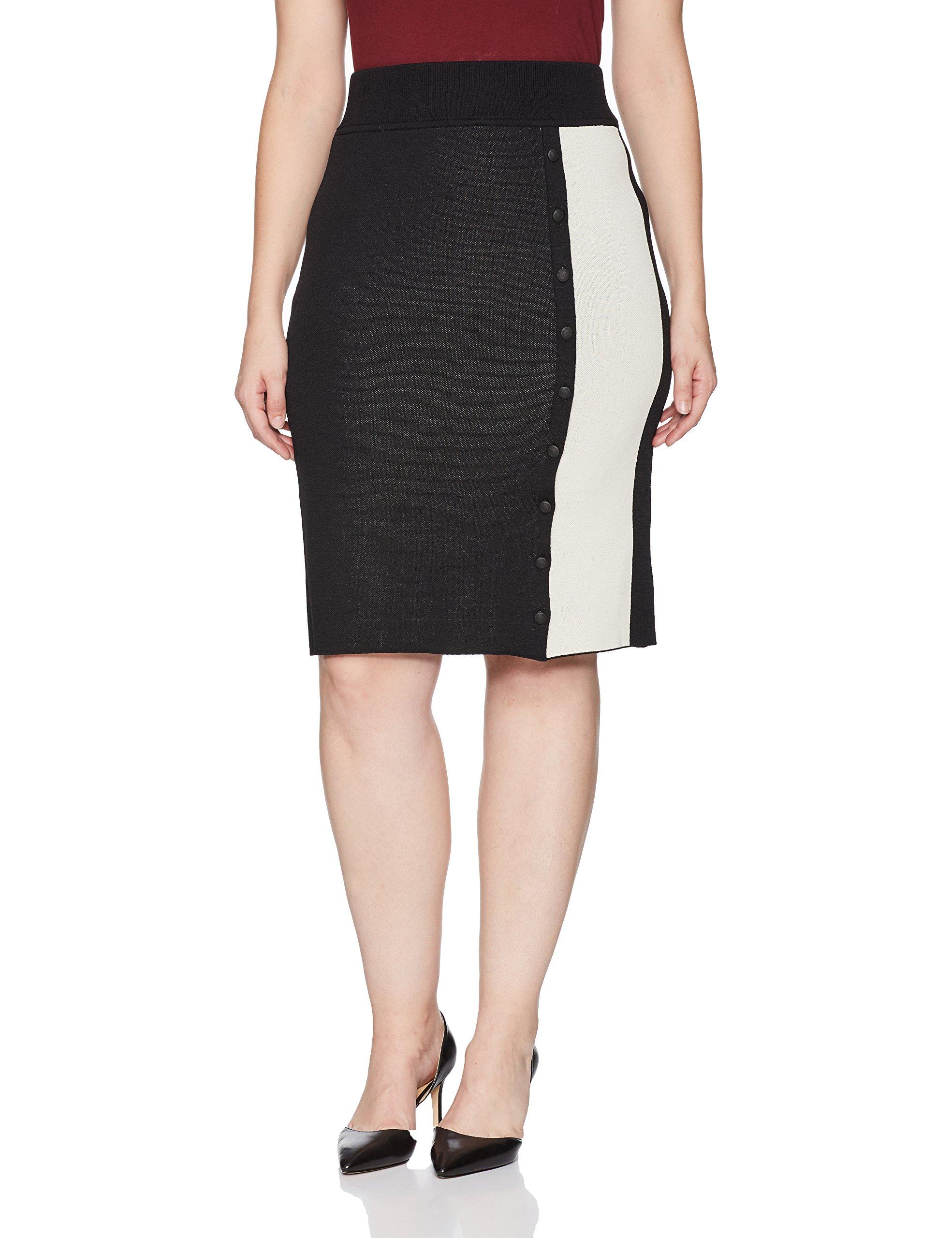 RACHEL Rachel Roy Women's Plus Size Striped Button Front Skirt, Black/Cream, 3X by RACHEL Rachel Roy