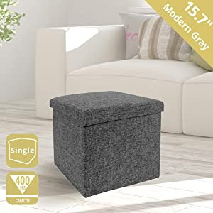 "Seville Classics WEB256 15.7"" Foldable Storage Footrest Toy Box Coffee Table Ottoman, Single, Charcoal Gray"