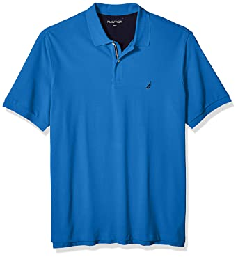 c30075db Nautica Men's Big and Tall Short Sleeve Solid Deck Polo Shirt, Capri Blue,  3X