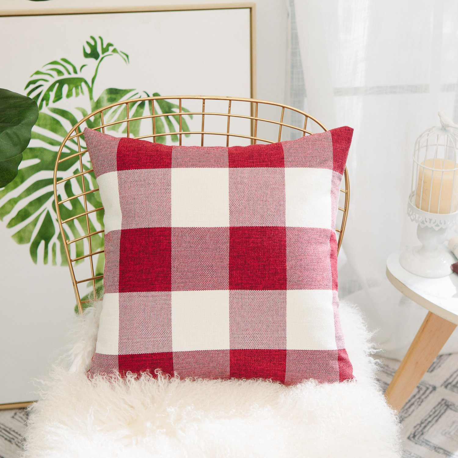 HOME BRILLIANT Classic Retro Throw Pillow Covers Country Rustic Checkered Plaid Cotton Linen Cushion Covers, Set of 2, 18 x 18 Inches, Beige HBGZH101
