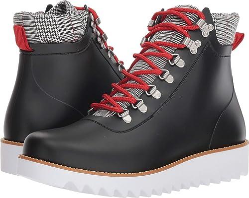 b5d6cd36f660 Bernardo Women s Winnie Hiker Rain Boot Black Rubber Black White Plaid 6 M  US