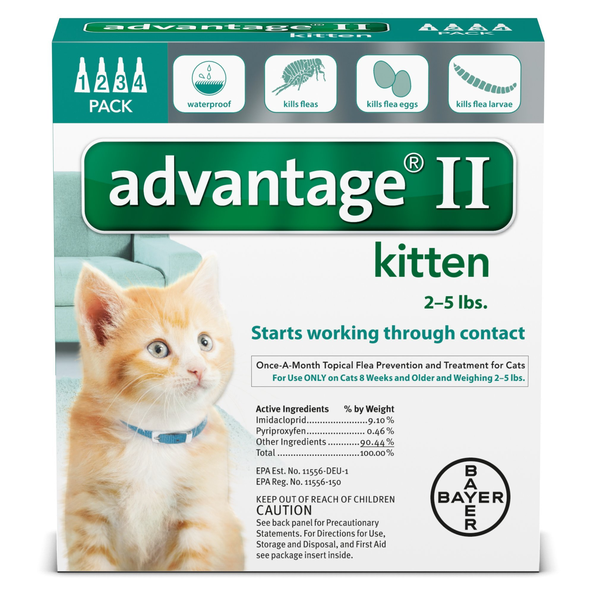 Advantage II Once-A-Month Cat & Kitten Topical Flea Treatment, 2-5 lbs.