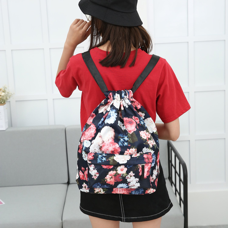 MORHUA Backpack Drawstring Bag Gymbag Drawstring Backpack Sports Travel Yoga Gymsack (Dark Orchid Pocket) by MORHUA (Image #6)
