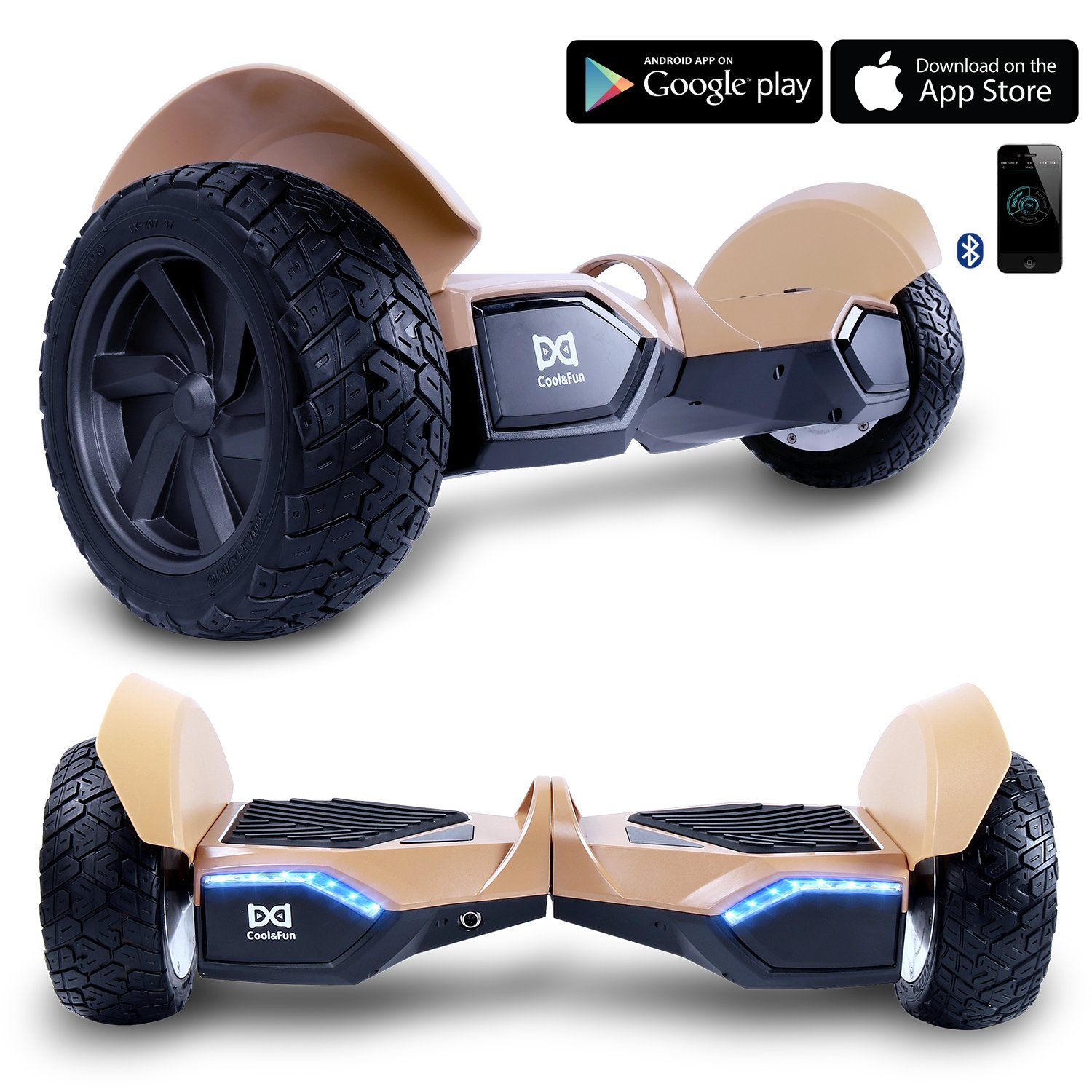 Cool&Fun W8S Two Wheel Self Balance Scooter Off-Road Hoverboard Safety Certified UL 2272 Bluetooth Speakers 8.5 Inch All Terrain Road Condition (Gold)