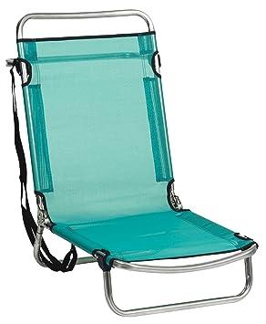 Alco-660ALF-0030 Silla Playa Aluminio, Fibreline, Posiciones, Color Azul Verdoso, 67x52x11.5 cm (660ALF-0030