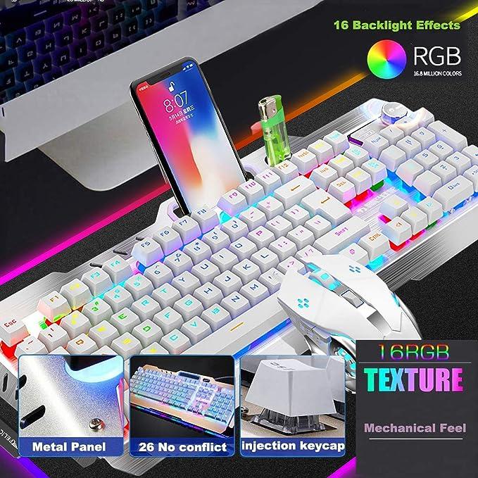 LED Illuminated Backlit Computer PC Gaming Keyboard Aluminum Base Anti-ghosting 104Pcs Standard Keys YUIOP M-98 RGB Backlit Wired Mechanical Gaming Keyboard