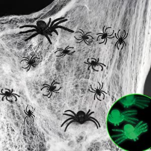 D-FantiX Spider Webs Halloween Decorations,1000 sqft White Stretch Spider Webbing Halloween Cobwebs with 184 Pcs Fake Glow in the Dark + Black Spiders for Creepy Halloween Party Decor Indoor & Outdoor