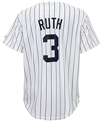 OuterStuff Babe Ruth New York Yankees White Youth Cool Base Home Replica  Jersey (Large 14 85998d221fd