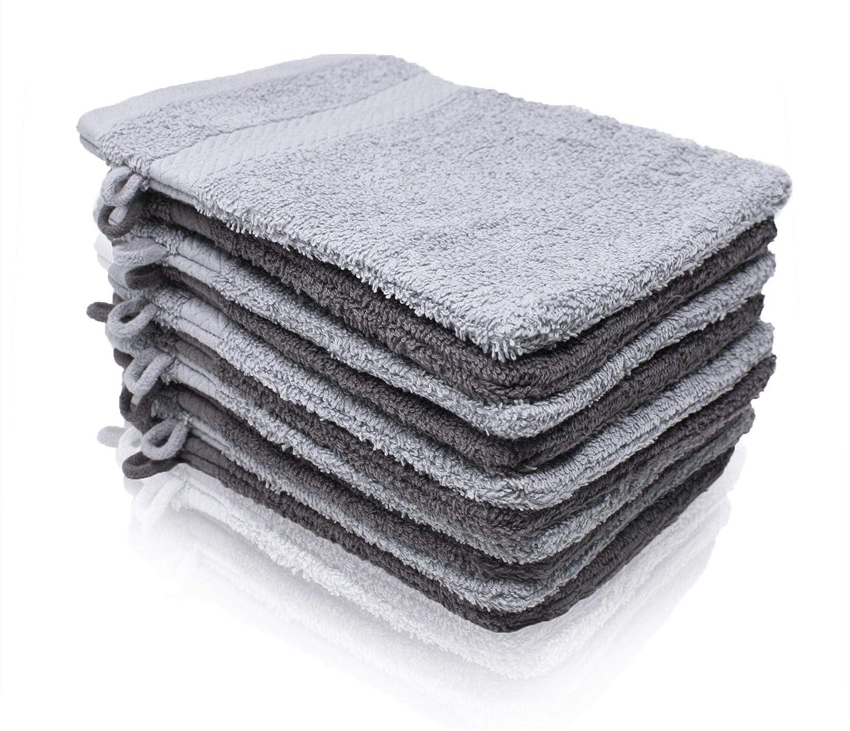 Wash Monkey Luxus Waschlappen-Set, 10 tlg. Geschenkset – Frottier Waschhandschuhe 16x21 cm - Frottee Baumwolle| Premium Qualität | anthrazit