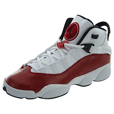 separation shoes 5fa3a a2920 Nike 323419-120: Jordan 6 Rings White/Black Gym Red Sneakers (6 M US Big  Kid)