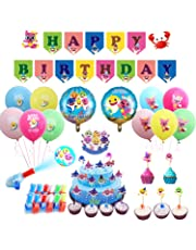 Shark Party Supplies Set for Baby Include 10 pcs 12-inch Latex Balloons, 10x Finger Lights,32 pcs Cupcake Toppers, 2 pcs 17-inch foil Balloons, 1set Banner,1 Set Cake Topper
