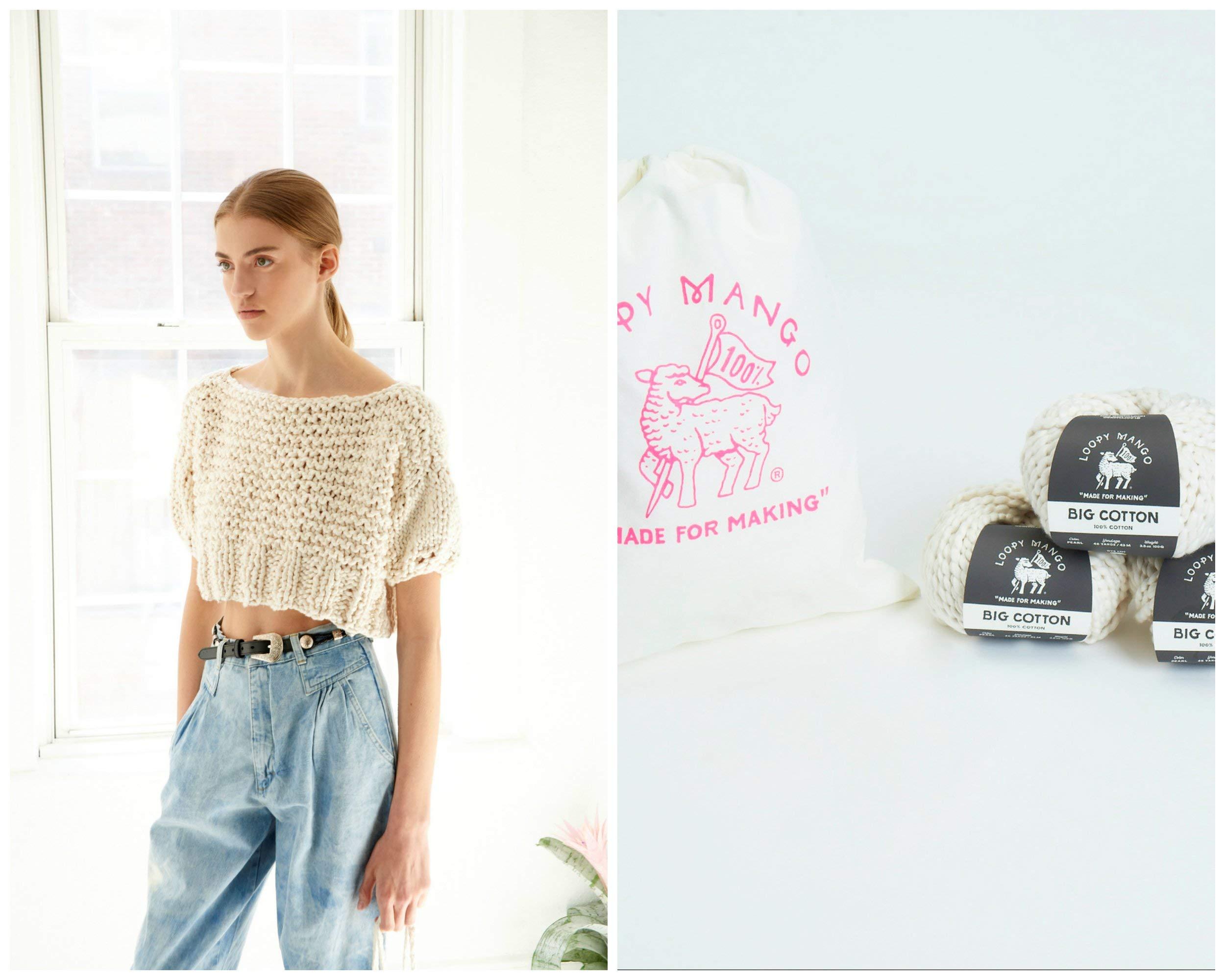 Loopy Mango DIY Knit Kit - Medium/Large Puff Sleeve Crop Top - Big Cotton (Emerald) by Loopy Mango (Image #1)