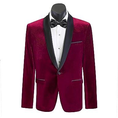 32d65fd9095d Scuzzatti Men's Burgundy Shawl Lapel Slim Fit Velvet Tuxedo Jacket  Sportcoat ...