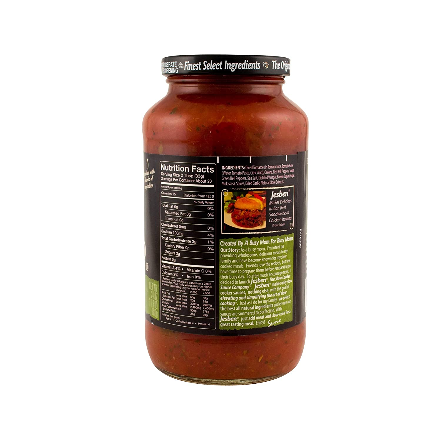 Amazon.com : Jesben Slow Cooker Sauce Italian Tomato, Peppers & Herbs 24 oz : Sandwich Spreads : Grocery & Gourmet Food