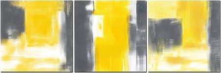 Cufun Art Gris Et Jaune Peinture D Art Abstrait Imprime Sur Toile Décoration Murale Pour La Maison Salon Bureau 40x40cmx3pcs