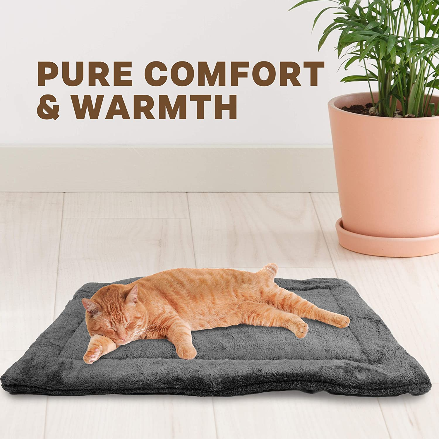 Medium Downtown Pet Supply Self-Heating Thermal Crate Mats with Handle Cats and Large Sizes and Pets Available in Grey and Brown with Small Warming Kennel Pads for Dogs