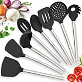 Twichwares Kitchen Utensil Set Cooking - Silicone Nonstick cookware with Stainless Steel Handle - Spatula, Ladle, Tongs, Whisk, Pasta Server Kitchen Accessories