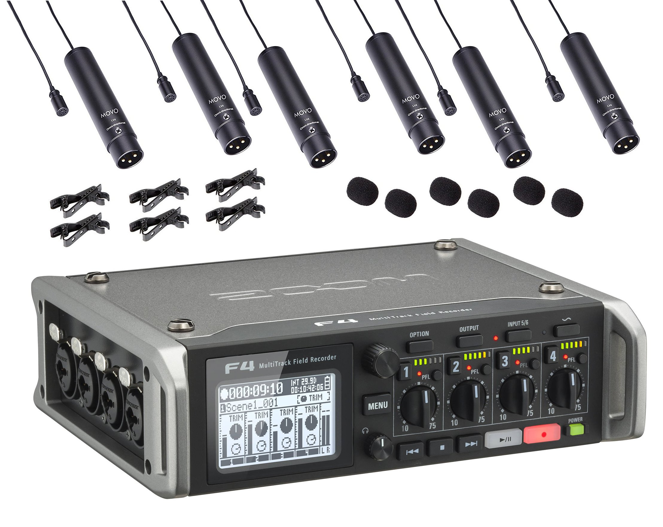 Zoom F4 Multitrack Field Recorder Bundle with 6-PACK of Movo XLR Lavalier Omnidirctional Clip-on Microphones by Movo (Image #1)