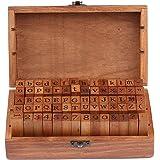 70Pcs Alphabet Stamps Wood Rubber Letter Number And Symbol Stamp Set