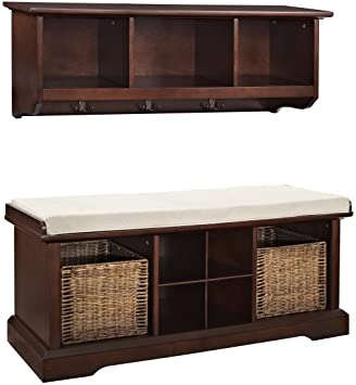 Miraculous Crosley Furniture Brennan Entryway Storage Bench And Hanging Shelf Set Vintage Mahogany Short Links Chair Design For Home Short Linksinfo