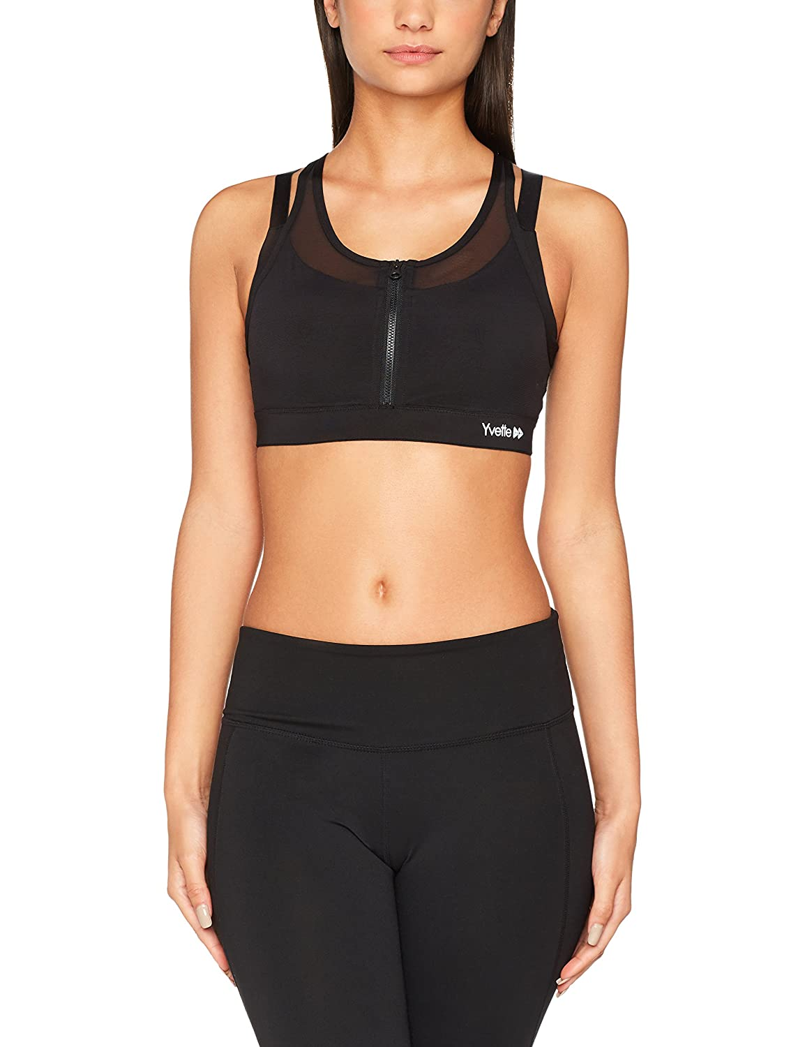 0f64d41153015 Yvette Women s Zip Front Sports Bra- High Impact Wireless No Bounce  Compression Push up Plus