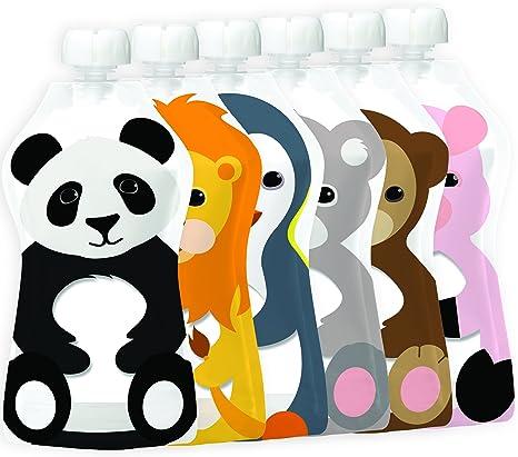 Bolsa reutilizable Squooshi para comida | Pack con 6 animales ...