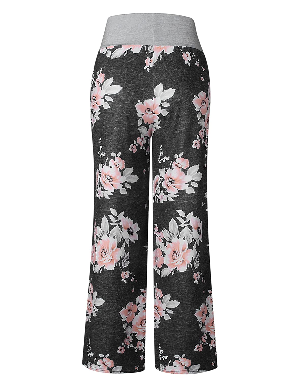 97e6f81585 AceIce Women s Comfy Stretch Floral Print Lounge Pants Casual Drawstring  Palazzo Pants Wide Leg Pajama Pants at Amazon Women s Clothing store