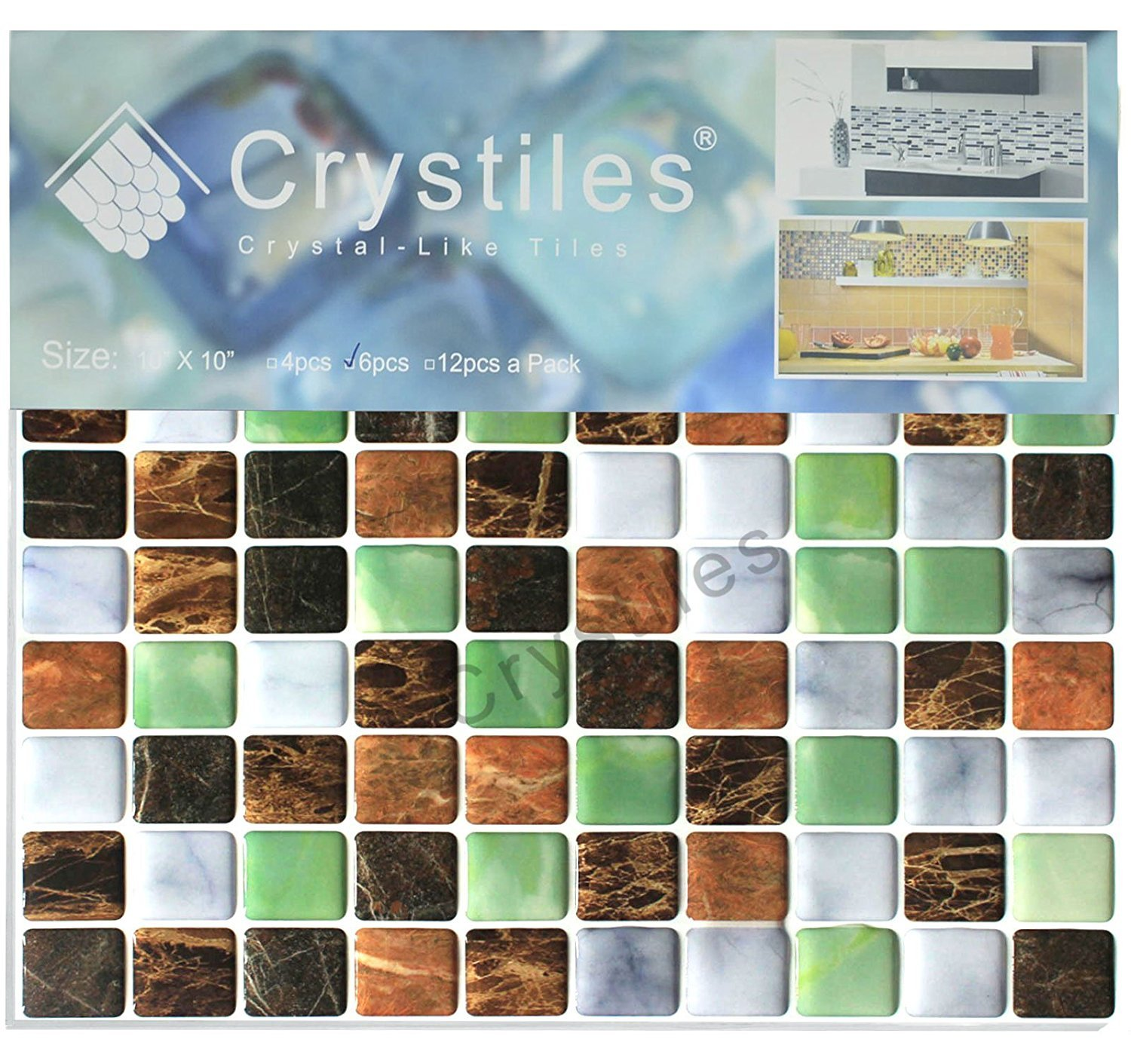 Amazon.com: Crystiles Peel and Stick Self-Adhesive DIY Backsplash ...