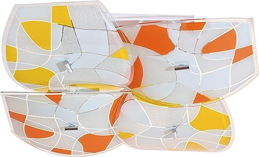 DeMarkt 262014004 Plafonnier Carré Joyeux Moderne Verre Multicolore  Mosaïque pour Chambre Enfant Cuisine Salle de Bain Bas Plafond 8x60W E27